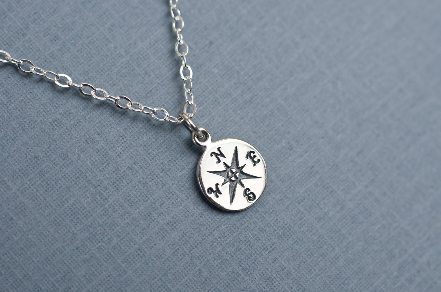 compass charm necklace silver compass charm necklace
