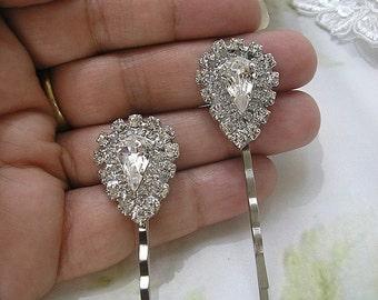 BRIDAL hairpins vintage style, wedding hair ACCESSORIES, Rhinestone Bobby Pins, women hairpins,  set of 2