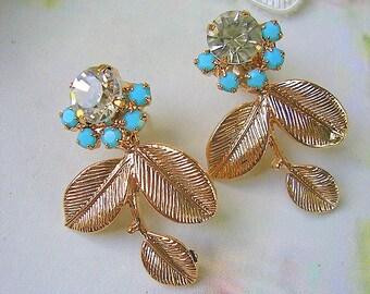 dangle gold turquoise earrings,crystal Statement post earring, flower earrings  Rhinestones, rose gold stud earring ,wedding jewelry earring