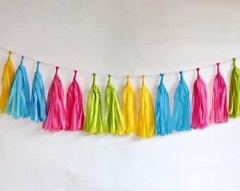 Tissue Tassel Garland Kit - Neon
