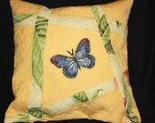 Decorator Pillow Butterfly on Yellow