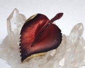 20% off BOO SALE KILLER 1960s Dark Red and Black Ombre Heart Leaf Enamel Painted and Rhinestone Brooch perfect for Goth Valentines Day - VivaEstelle