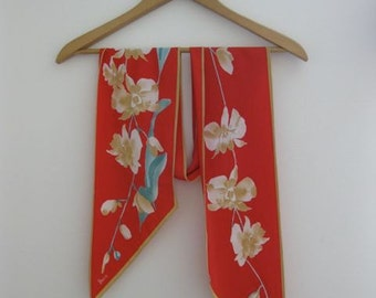 Vera Camel Lilacs on Red Oblong Scarf