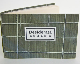 DESIDERATA POEM - For the Graduate - Daily meditations lovingly hand stitched and hand bound - Green Grid
