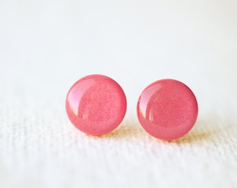 Blush Pink Shimmering Stud Earrings
