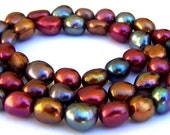 Multicolor freshwater pearls, 7mm to 9mm nuggets, deep hues, 16 inches