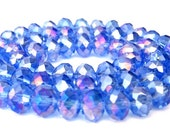 22 light sapphire blue AB beads, light blue 8mm crystal rondelles