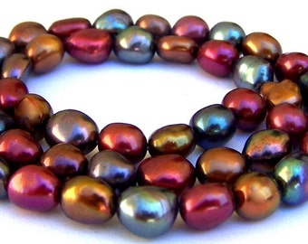 Multicolor freshwater pearls, 8mm to 10mm nuggets, deep hues, 16 inches