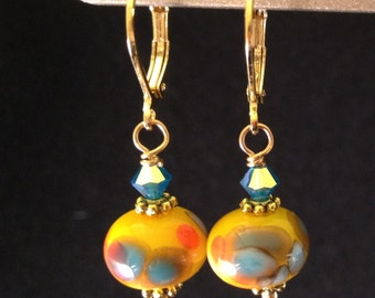 Drop earrings - lamp work glass - yellow