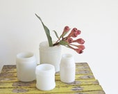 Old Milk Glass Jars Collection of 4 - AboutThePlace