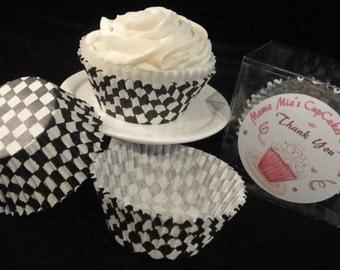 Black Checker Board Cupcake Liners