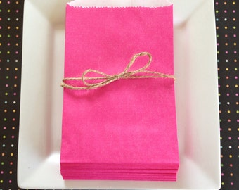 Pink paper bags--set of 24