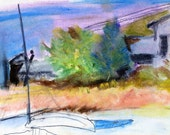 Sunset at Saltaire Fire Island Beach House - Oil Pastel and pencil drawing. Limited edition print one of 25. FREE postage