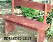 """PARK BENCH - FRee SHiPPiNG - Country Primitive - Distressed """"Old Mexico"""" Barn RED Option - Porch-Mud Room-Patio-Etc - 42'' Bench - C Details"""