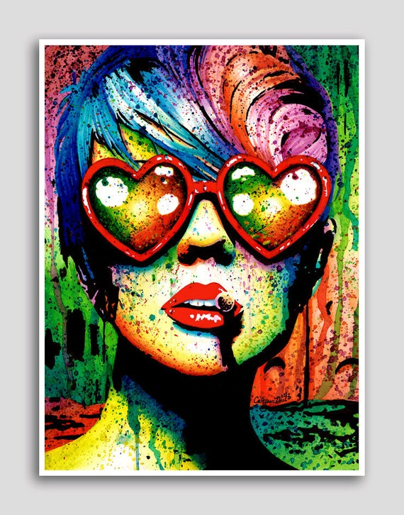 18x24 in Pop Art Poster - Electric Wasteland - Punk Rock Rainbow Portrait
