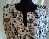 Super Soft Black and White Block Print Indian Mini Dress L-XL