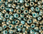 Seed Beads-8/0 Round-1703 Gilded Marble Turquoise-Toho-16 Grams
