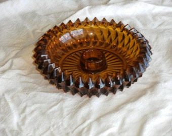 Vintage Amber Glass Votive Holder