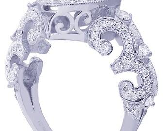 14k white gold pear shape diamond engagement ring art deco antique style 1.75ctw