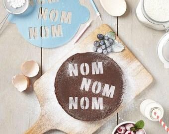 Nom Nom Nom Cake Stencil