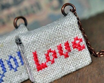LOVE, tiny linen journal book for a necklace, handmade, miniature, jewelry art, necklace, accessory, steampunk, JunqueTreasures
