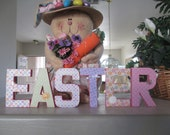 EASTER in paper mache letters - Easter Decoration