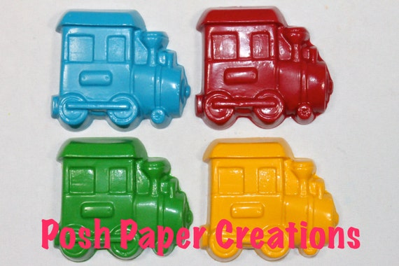 5 train crayons - individually wrapped in cello bag tied with ribbon - choose your colors