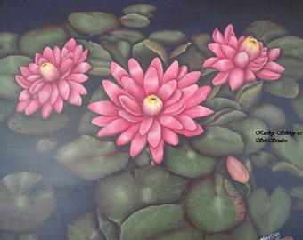 Pink Waterlilies Painting, Original Acrylic Painting, Gesso Art Panel, Framed 20 x 24 inches, Pink Waterlily Wall Art, Waterlily Home Decor