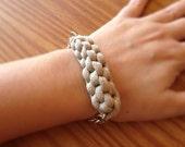 Nautical Bracelet, Beige T-Shirt Yarn Bracelet, Woven Fabric Jewelry, Fiber Jewelry, Bohemian Bracelet, Bohemian Jewelry