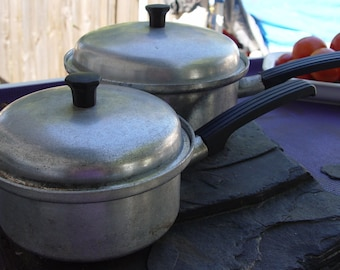 Vintage Vita Craft Sauce Pans with Lids Retro Kitchen