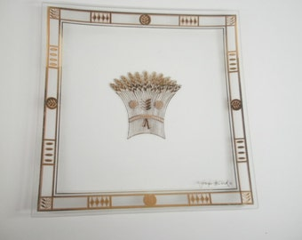 Vintage Georges Briard Gold Wheat Sheath Glass Serving Tray