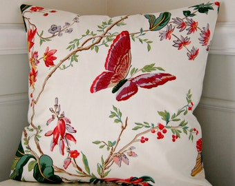 Floral Pillow Cover, Floral Decorative Throw Pillow, Coral Pink Green Throw Pillow, 18x18 Pillow, Floral Cushion Cover, Butterfly Pillow