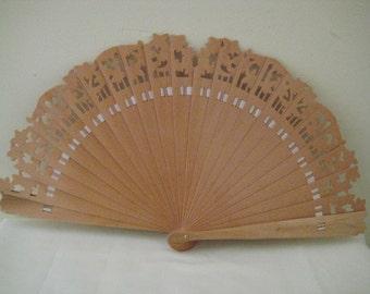 Regency/Victorian Style Fan. Beige Natural Wood Brise style.