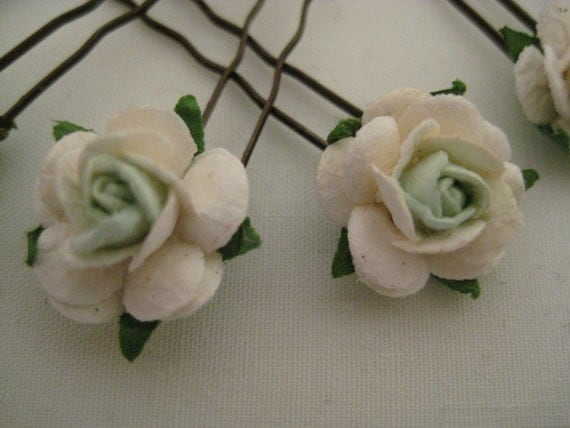 Ivory and Mint/Aqua Rose Hairpins x 8. Paper. Wedding, Bridal, Regency, Victorian