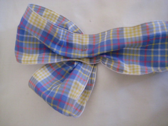 """Blue/Yellow/White Plaid Ribbon. 2.5""""/ 8 cm wide. Sold by the metre"""