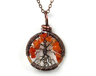 Miniature Small Tiny Itty Bitty Autumn Fall Tree of Life Necklace in Antique Copper and Red Orange Carnelian Stone.