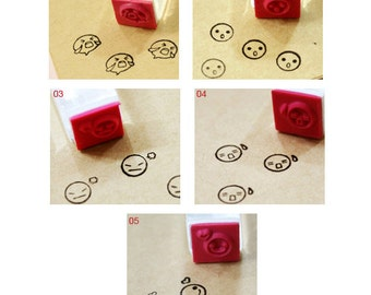 Funny Face Crystal Rubber Stamp -5 Different Face (Select one)