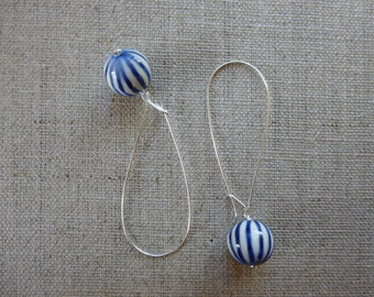 Indigo Lines Glazed Ball Long Hoop Earrings