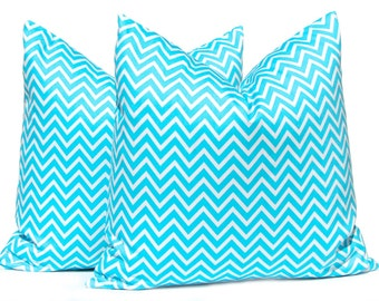 Light Turquoise Pillow Cover - Decorative Throw Pillow Cover - Chevron Pillow Cover - One 22 x 22 - Turquoise and White Pillow Cover