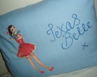 Fabulous Retro Pin Up & Classic Nose Art  Cushion - Texas Belle
