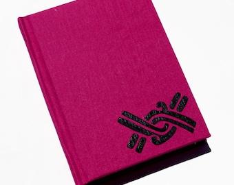 Hot pink handmade paper notebook