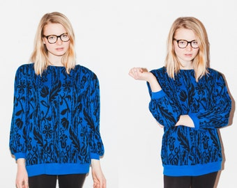 1980s Black and Blue Floral Stripe Sweater with POCKETS M/L