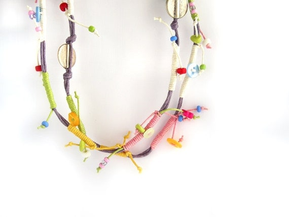 Pastel colorful cords long summer necklace in purple, pink and green
