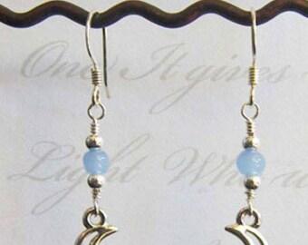 silver drop earrings, silver earrings for women, silver earring, silver dangling earrings, silver earrings dangle, moon, crescent moon