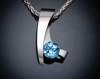 Swiss blue topaz necklace, blue topaz pendant, modern necklace, December birthstone, wedding necklace,  tension set, gemstone jewelry - 3451