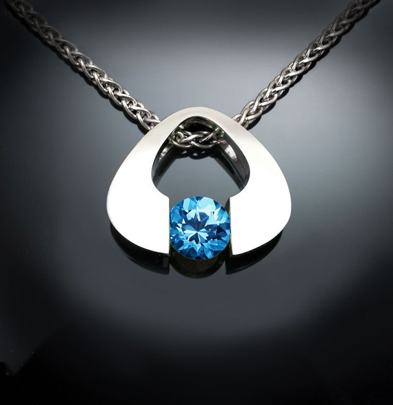 blue topaz pendant, Swiss blue topaz necklace, Argentium silver, tension set, December birthstone, contemporary  Jewelry - 3423