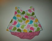 Baby Girl Boutique Pinafore With Bloomers  in Sizes New Born - 3T Pastel Birds