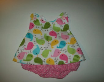 Baby Girl Cross Back  Pinafore With Bloomers  in Sizes New Born - 3T Pastel Birds