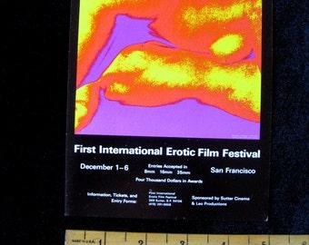 1st International Erotic Film Festival 1970 Handbill  Two Nudes Original HANDBILL San Francisco Nudes Psychedelic