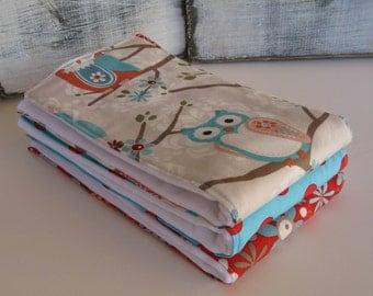 Adorn it Owls Baby Girl Diaper Burp Cloths - Set of 3